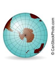 South Pole map. Antarctica, Australia, America, Africa....