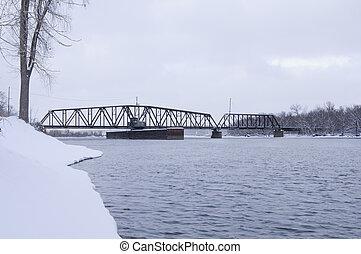 South Saint Paul Swing Bridge on Mississippi River