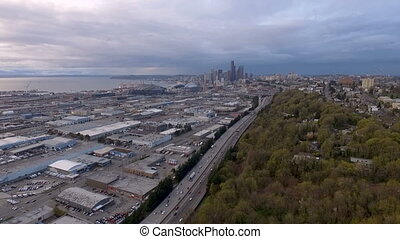 South Seattle Interstate 5 Commuter Traffic Aerial View -...