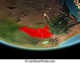 South Sudan at night on Earth