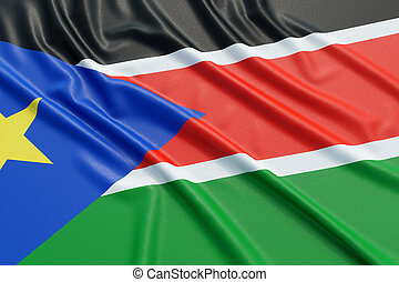 South Sudan flag. Wavy fabric high detailed texture. 3d...