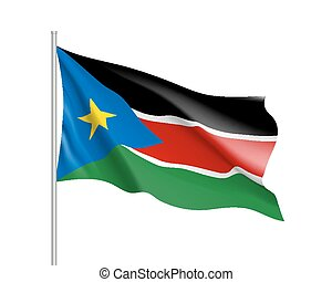 South Sudan flag. Illustration of African country waving...