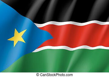 South Sudan flag. National patriotic symbol in official...