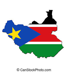 south sudan flag on globe map