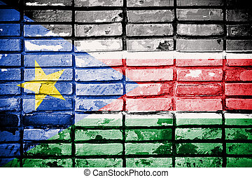 South Sudan Flag painted on old brick wall