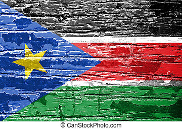 South Sudan flag painted on old wood texture