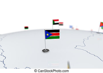 South Sudan flag. Country flag with chrome flagpole on the...