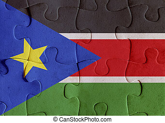 South Sudan flag puzzle - Illustration of a flag of South...