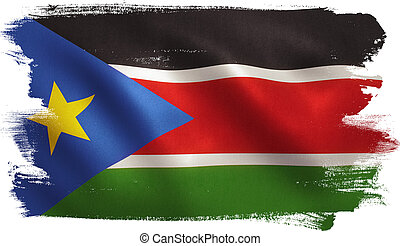 South Sudan Flag - South Sudan flag with fabric texture. 3D...