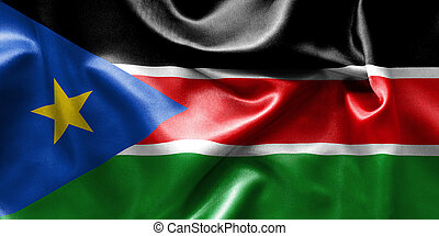 South Sudan Flag - South Sudan flag texture creased and...