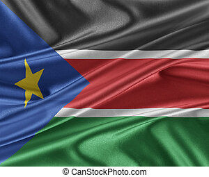South Sudan flag with a glossy silk texture. - South Sudan...