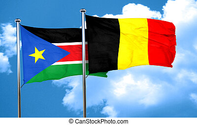south sudan flag with Belgium flag, 3D rendering