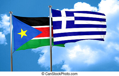 south sudan flag with Greece flag, 3D rendering