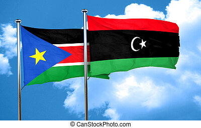 south sudan flag with Libya flag, 3D rendering