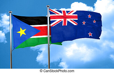 south sudan flag with New Zealand flag, 3D rendering