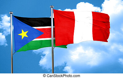 south sudan flag with Peru flag, 3D rendering