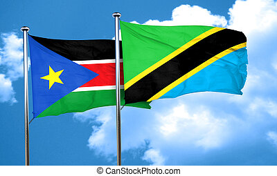 south sudan flag with Tanzania flag, 3D rendering