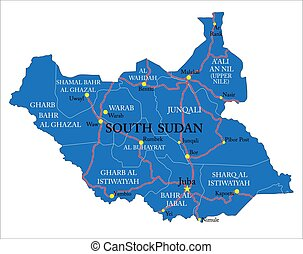 South Sudan highly detailed political map