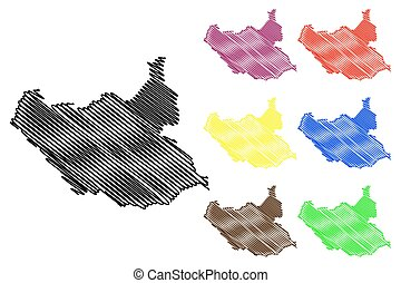 South Sudan map vector illustration, scribble sketch South...