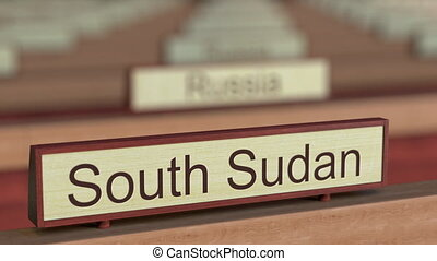 South Sudan name sign among different countries plaques at...