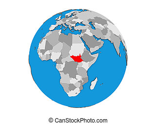 South Sudan on 3D globe isolated