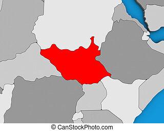 South Sudan on 3D map