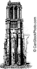South tower of Notre Dame, vintage engraving.