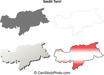 South Tyrol blank outline map set - Austrian version - South...