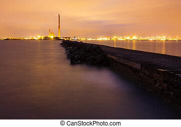 South Wall breakwater in Dublin bay at night