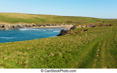 South West Coast Path Porth Joke beach next to Crantock bay...