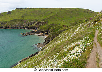 South west coast path Starehole bay near Salcombe Devon...
