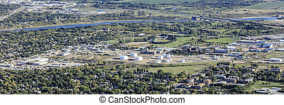 Aerial view of the South West Industrial area of Saskatoon.  Aug 7, 2016