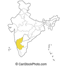 Map of india. Outline map of the republic india with the borders of ...