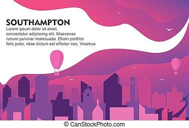 Southampton City Building Cityscape Skyline Dynamic Background Illustration