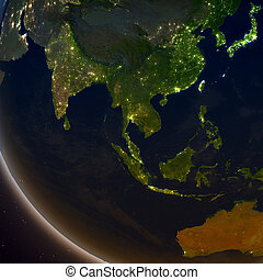 Southeast Asia at night from Earth's orbit in space. 3D ...