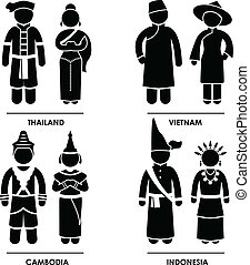A set of pictograms representing people clothing from Thailand, Vietnam, Cambodia, and Indonesia.