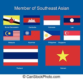 southeast Asia flags, flags vector, flags icons