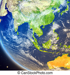 Southeast Asia from space - Satellite view of Southeast Asia...