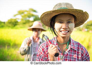 Myanmar Asian traditional farmer