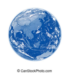Southeast Asia on blue planet Earth isolated on white background. Elements of this image furnished by NASA.