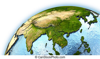 southeast Asia on planet Earth with embossed continents and ...