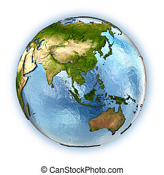 Planet Earth with embossed continents and country borders. southeast Asia. Isolated on white background. Elements of this image furnished by NASA.