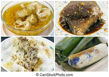 Southeast Asian Singapore Dessert and Snacks Collage -...