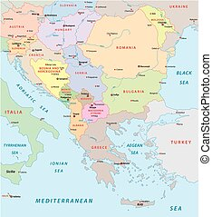 southeast europe map - southeast europe vector map