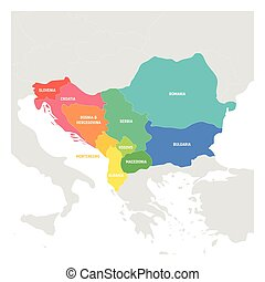 Southeast Europe Region. Colorful map of countries of Balkan...