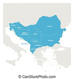 Southeast Europe Region. Map of countries of Balkan...