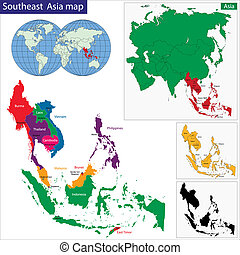 southeastern, asien, karta