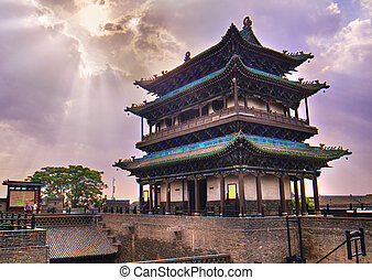 Souther gate of the Great city walls of Pingyao
