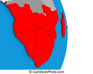 Southern Africa on 3D globe