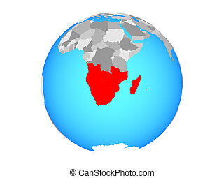 Southern Africa on globe isolated